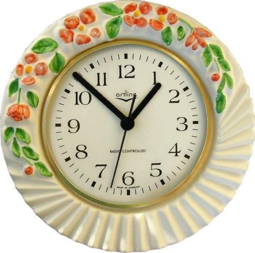 runde Relief Uhr mit Blumen Funkuhr